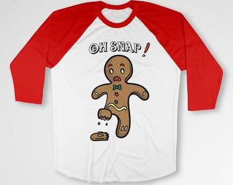 Funny Xmas Gifts Christmas Shirt Holiday T Shirt Christmas Movie TShirt Xmas Present Holiday Outfit Gingerbread Man Baseball Tee TEP-532