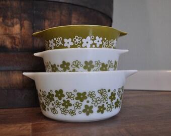 Pyrex Spring Blossom Casserole Dish Set 471 472 474 - Crazy Daisy