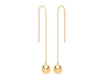 9ct Gold 6mm Ball & Chain Threader 9cm Long Drop Earrings