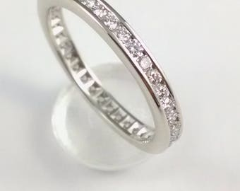 Ladies 14k white gold diamond Eternity wedding band
