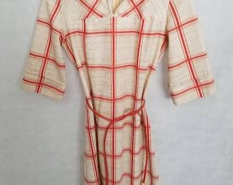 Women's 1970s Bleeker Street Rusty Orange & Tan Dress Size 6