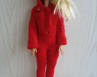 Knitted handmade red jumpsuit for Barbie, fashion doll dress,  Barbie Clothes