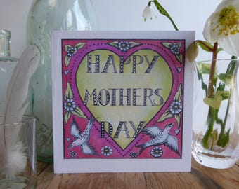 Mother's Day greetings card with heart and birds