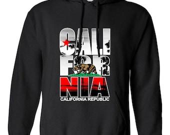 California Republic Cali Bear Cali Love Clothing Adult Unisex Hoodie Hooded Sweatshirt Best Seller Designed Hoodies for Women and Men