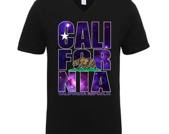 California Republic Bear Galaxy Colors Trend Clothing Adult Unisex Men Size V Neck Tee Shirts for Men and Women