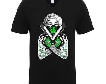 Marilyn Monroe Guns Tattoos Marijuana Green Leaf 420 Friendly High Adult Unisex Men Size V Neck Tee Shirts for Men and Women