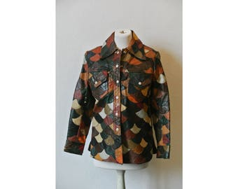 PATCHWORK LEATHER JACKET / scale pattern / multicolor / 1970's