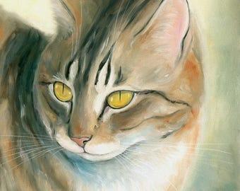 Cat Original Oil Painting