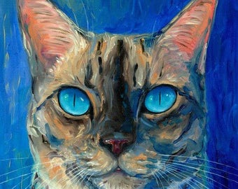 Siamese Cat Original Oil Painting