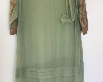 1920's Green Chiffon and Lace Dress