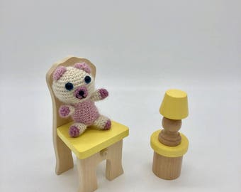Crochet Teddy Bear, Tiny Amigurumi Bear, Cute Teddy bear Plush Toy, Crocheted Bear, Wool Alpaca Yarn, Pink and White