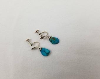 1970's Silvertone & Turquoise Dangle Screwback Earrings