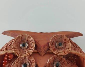 Vintage Owl bamboo Basket