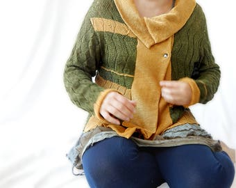 Gilet tricoté pour femme en lin de taille 48. Cadeau personnalisé pour les femmes. Cardigan d'été et mi-saison. Veste en maille