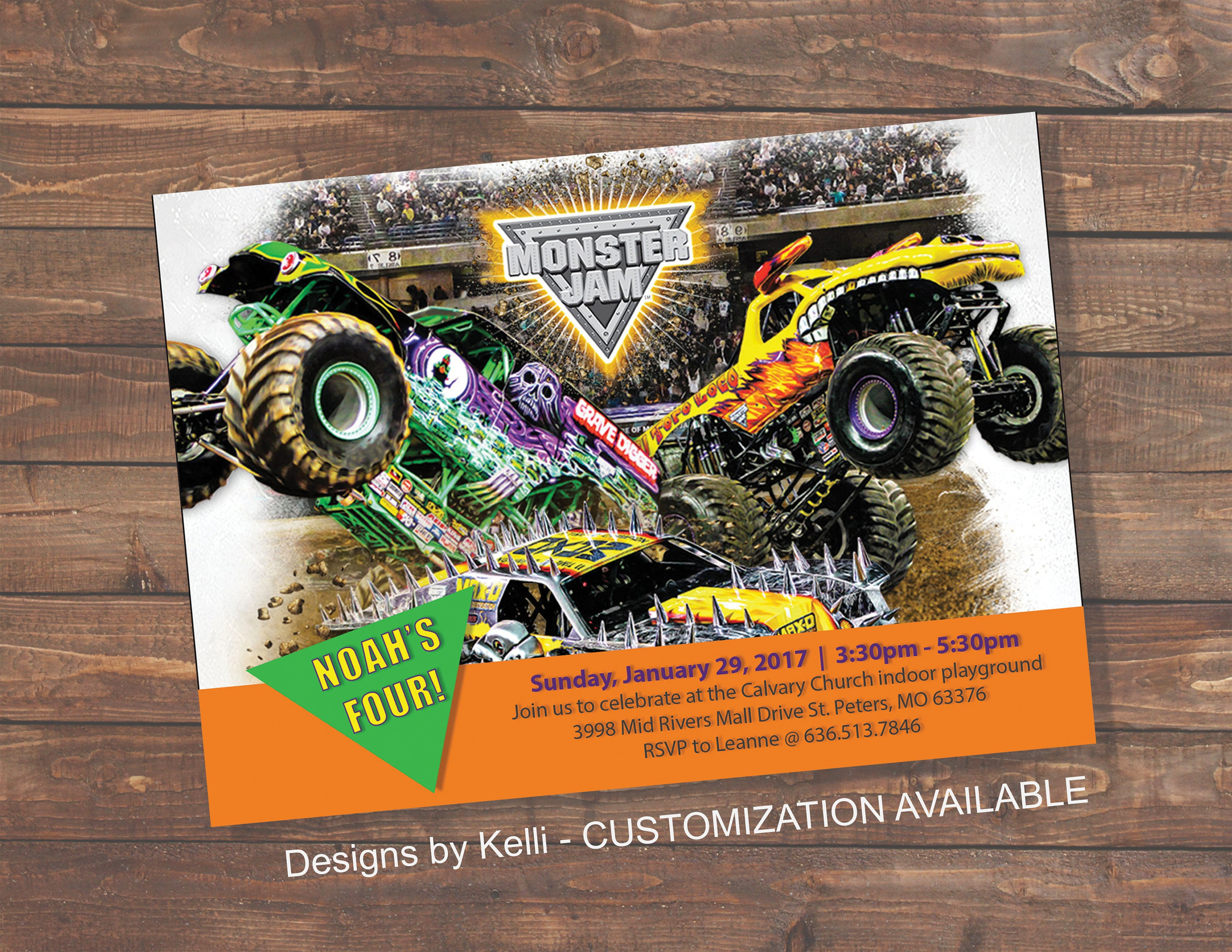 Monster Jam Invitation, Boy birthday, Grave digger, El toro loco ...