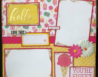 CLEARANCE Hello 12x12 Premade Scrapbook Pages 12x12 Scrapbook Layout Summer