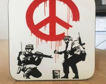 Banksy Coaster #11 - Banksy Gift - Banksy Coaster - Custom Coaster -Gift for Her - Gift For Him - Fridge Magnets - Banksy Magnet - Souvenir