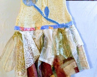 """upcycled top tunic appliques lace flower s-l-fits upto 40"""" chest Shabby"""