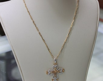 Italian diamond cross 18 k two tone , rose / white gold , ladies , 0.04 ct , 3.8 gr.