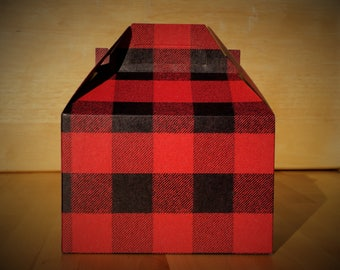 Red flannel-design kraft gable boxes - set of 5 boxes