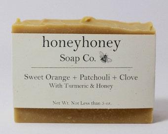 Sweet Orange + Patchouli & Clove, Honey Soap, Turmeric Soap, All natural soap, natural soap