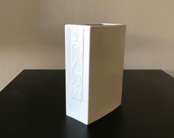 White rectangular ceramic vase