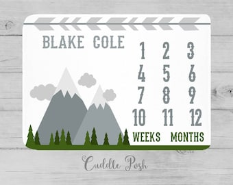 MILESTONE Baby Blanket, Mountain Milestone Blanket, Woodland Baby Photography Backdrop, Personalized Boy Name, Newborn Boy Shower Gift