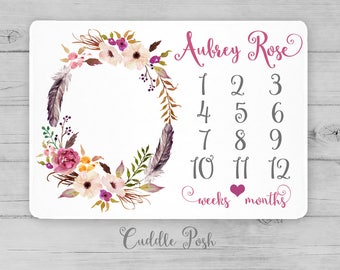 BOHO Baby Milestone Blanket, Watercolor Floral Feather, Newborn Photography Backdrop, Month Growth Chart, Personalized Baby Shower Gift