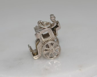 Sterling Silver Charm - Fairytale Carriage Driver, Disney Princess, collectable, vintage charms, pendant, charm bracelet.