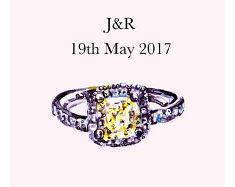 Wedding Engagement Ring Art Personalised Illustration Custom