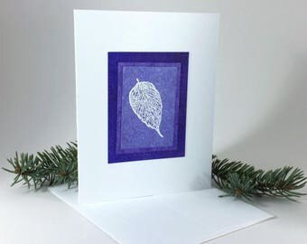 White leaf on amethyst embossed blank card, individually handmade on hand-painted papers: A2, winter, notecards, fine cards, SKU BLA21037