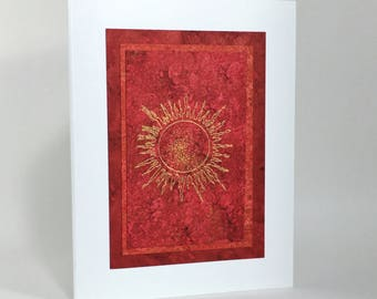 Solstice card: gilded sun on scarlet, individually handmade, hand painted, not printed, happy solstice, A2, SKU SOA21011