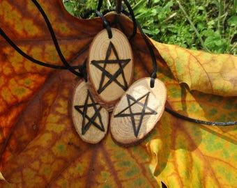 Pentagram pyrography, wooden pendant.