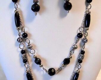 Black and silver multi-chain