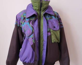 Retro Ski Jacket Size Medium, Purple Black Ski Coat, MISTRAL, Vintage Snow Jacket,