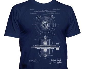 N. Tesla Patent T Shirt, Tesla T-Shirt, Tesla Alternating Electric Current Generator Patent, Engineer Gift, Engineer Shirt, Patent Art Gift
