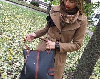 Leather tote bag,w/zipper, black leather bag, casual bag, everyday bag, Bucket bag, Tote bag, Leather bag, Women's Bag, Leather Handbag