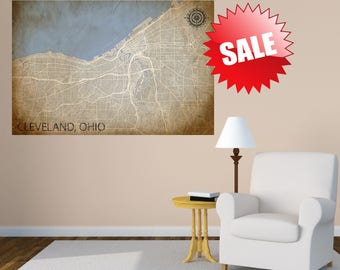 CLEVELAND Ohio Map Print, Cleveland CANVAS Map Poster, Custom Personalized map, Cleveland Wall Art, Cleveland gift, Ohio, OH, Home Decor Map