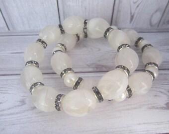 white marble effect bracelet duo