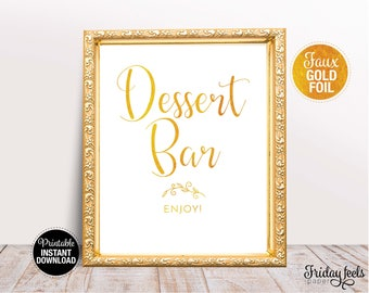 Dessert Bar Wedding Sign, Printable Wedding Poster, Gold wedding Sign, Instant Download, WS02