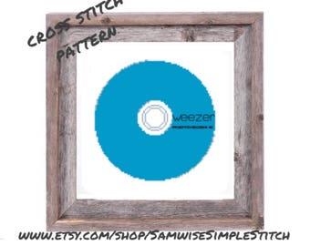 Weezer, blue album cd cross stitch PATTERN