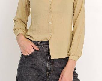 VINTAGE Beige Long Sleeve Retro Shirt