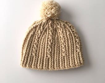 Beige Cable Twist Pompom Crochet Beanie - Cream Handmade Hat