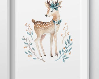 Woodland Animal Deer nursery print