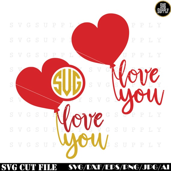 Love You Monogram Svg Valentines Day Svg Heart Monogram Svg Cut