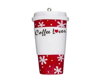 Coffee Lover Cup Personalized Christmas Tree Ornament