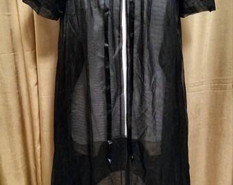 Vanity Fair 1950's Peignoir Black Robe Size 32