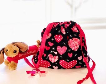 Valentine Heart Drawstring Gift Bag - Eco-Friendly & Reusable