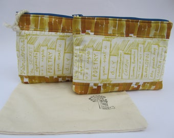 Quilted Zipper Pouch Set Book Case