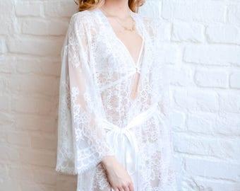Molly. Short lace robe.